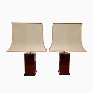 Rot Lackierte Tischlampen von Jean Claude Mahey, 1970er, 2er Set