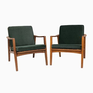 Scandinavian Style Velvet Green Lounge Chairs, 1960s, Set of 2