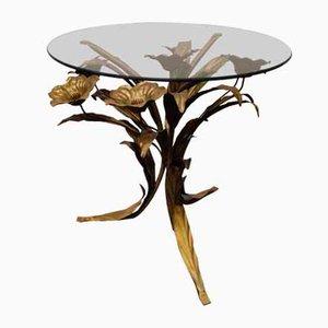 Vintage Italian Metal Flower Side Table, 1960s