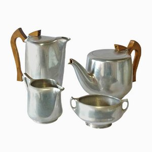 Art Nouveau English Aluminum Teak and Coffee Set from Picquot Ware, 1900s