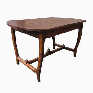 Tavolo da pranzo Art Deco in legno e piedi ovali, anni '30