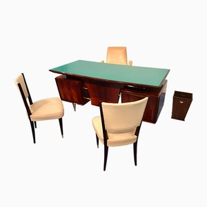 Mid-Century Italian Rosewood Executive Desks with Armchair, Chairs & Basket Attributed to Vittorio Dassi, 1950s, Set of 5