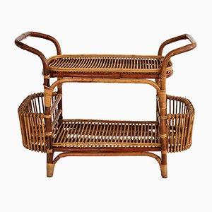 Mueble bar o estantería italiano vintage de bambú, años 60