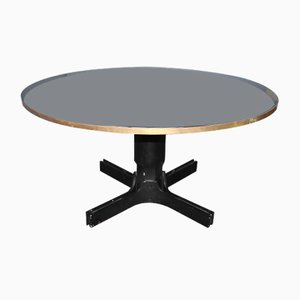 Mid-Century Italian Round Black Glass Dining Table