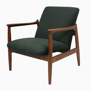 Green Velvet Model GFM-142 Lounge Chair by Edmund Homa for Gościcińskie Fabryki Mebli, 1960s