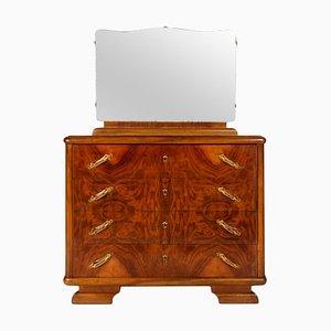 Cajonera Art Déco de madera nudosa de nogal con espejo de Gaetano Borsani, años 20