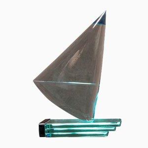 Blaue Glas Segelboot Skulptur von Giorgio Berlini, 1970er