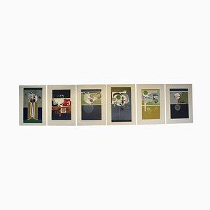 Pinturas italianas abstractas, años 60. Juego de 6