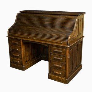 Antiker Schreibtisch aus edwardischer Eiche mit Rolltür