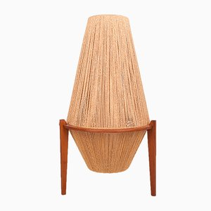 Teak and Hemp String Floor Lamp by Ib Fabiansen for Fog & Mørup, 1950s