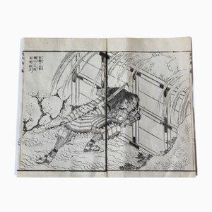 Dibujo antiguo de Hokusai