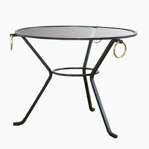French Black Lacquered Metal, Glass, and Brass Coffee Table by Jacques Adnet, 1950s