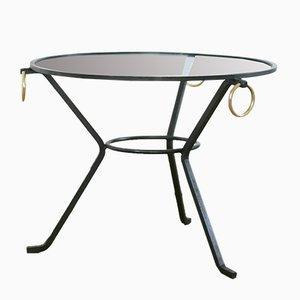 Tavolino da caffè in metallo laccato nero, vetro e ottone di Jacques Adnet, Francia, anni '50