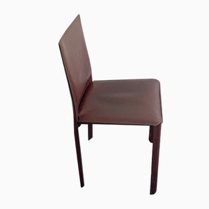 Burgundy Leather Dining Chairs by Matteo Grassi, 1970s, Set of 4