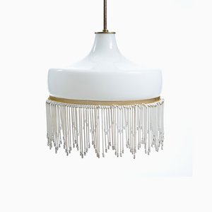 White Opaline Glass Ceiling Lamp, 1950s