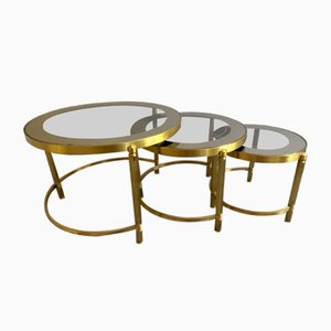 Round Brass and Bronze Nesting Tables, 1970s, Set of 3