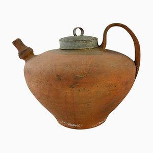 Handgefertigter antiker französischer Wasserbehälter aus Terrakotta, Krugvase oder Tafelaufsatz