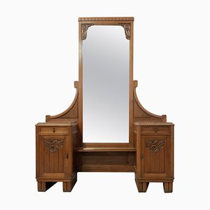 Art Deco Style Dressing Table with Red Marble Top & Full Length Mirror, 1950s
