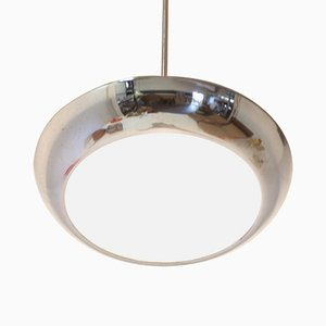 Functionalist Chrome UFO Pendant Lamp by Josef Hurka for Napako, 1930s