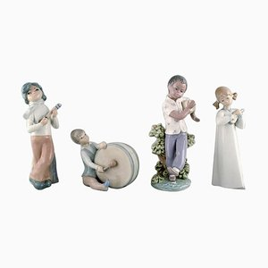 Vintage Spanish Porcelain Children with Instruments Figurines from Lladro, 1980s, Set of 4