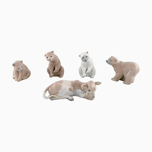 Vintage Spanish Porcelain Bears and Calf Figurines from Lladro, 1980s, Set of 5