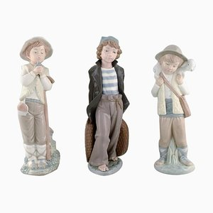 Vintage Spanish Porcelain Young Boys Figurines from Lladro, Nao & Zaphir, 1980s, Set of 3