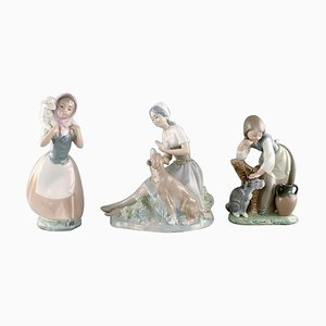 Vintage Spanish Porcelain Young Girls with Farm Animals Figurines from Lladro & Nao, 1980s, Set of 3