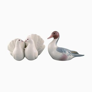 Vintage Spanish Porcelain Pigeons and Mandarin Duck Figurines from Lladro, 1980s, Set of 2