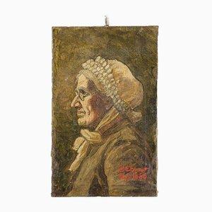 Óleo sobre lienzo The Old Lady Portrait de H. Etievant, 1885