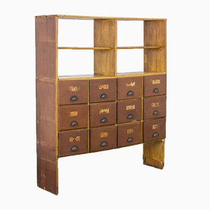 Vintage Workplace Shelving Unit with Drawers