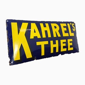 Vintage Enamel Advertising Kharel's Tea Sign, 1920s