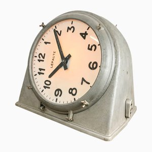 Vintage Industrial Double Sided Clock from Lepaute