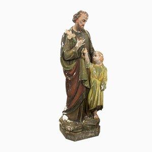 Große Vintage Gips Statue von Hl. Josef und Jesuskind