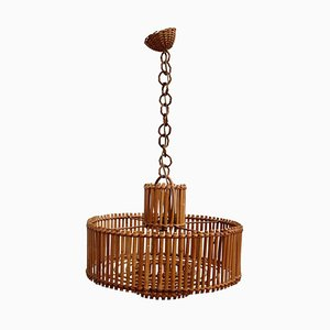 Mid-Century French Rattan Pendant Lamp with Chain, 1960s