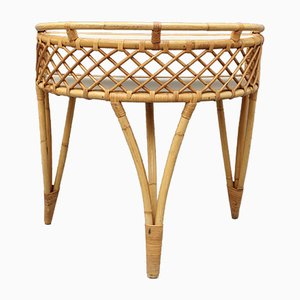Mid-Century Italian Rattan Desk Vanity Table, 1960s
