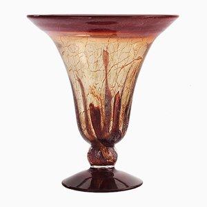 Art Deco Ikora Vase mit Glasfuß von Karl Weidmann für WMF, 1930er