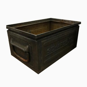 Small Grey Metal Schafer Crate