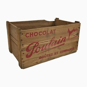 Medium Chocolat Poulain Wooden Crate, 1950s