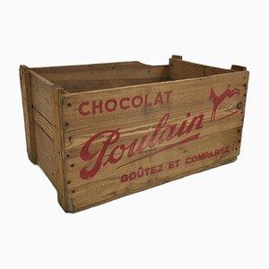 Moyenne Caisse Chocolat Poulain en Bois, 1950s