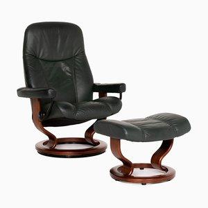 Dunkelgrüner Consul Relax Function Armlehnstuhl aus Leder von Kein Designer für Stressless