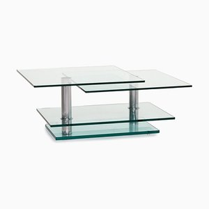 Glass and Metal K 500 Adjustable and Extendable Function Coffee Table from Ronald Schmitt