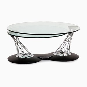 Mesa de centro Gamelli ajustable de vidrio y metal cromado de Naos