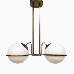 Mid-Century Art Deco Brass Pendant Lamp, 1960s