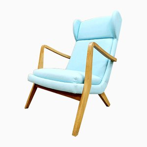 Vintage Danish Blue Wingback Lounge Chair, 1960s