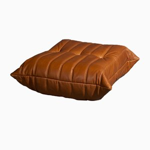 Cognac Leather Togo Pouf by Michel Ducaroy for Ligne Roset, 1970s