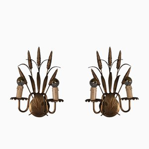 Hollywood Regency Ears of Corn Wall Lamps, 1970s, Set of 2