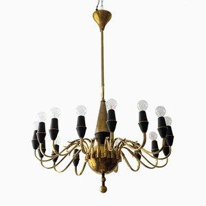 Lámpara de araña Mid-Century de latón de Stilnovo