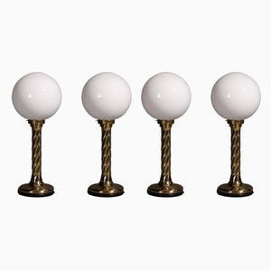 Golden Spherical Hollywood Regency Lampen, 1960er, 4er Set