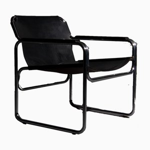 Tube Stuhl mit Sitz und Armlehnen aus Sattelleder in Schwarz, 1960er