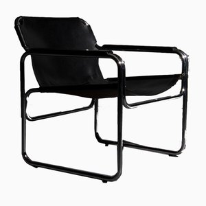 Tube Chair with Seat and Armrests of Saddle Leather in Black, 1960s